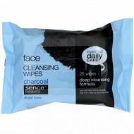 Lingettes nettoyantes pour visage au charbon noir x25