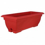 Riviera jardinière tradition 50 cm avec soucoupe clipsée couleur rouge