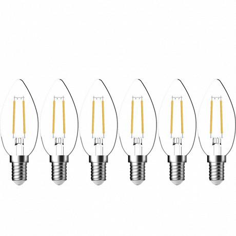 Gétic ampoule LED 35 filament transparent équivalent 40W E14 - 2700K x6