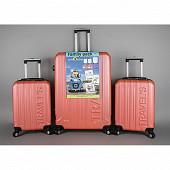 Lot d'une valise 79cm + 2 valises 55cm corail