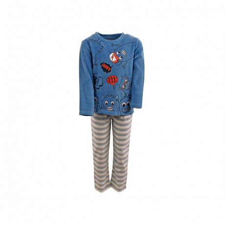 Pyjama long velours garçon BLEU GRISE 8ANS