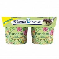 Mamie Nova fondant saveur pistache sur lit de chocolat 2x150g