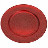 Sous-assiette de présentation craquelée rouge