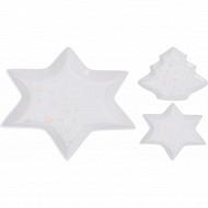 Plat porcelaine sapin ou étoile