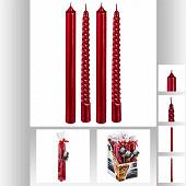 Lot de 4 bougies hautes rouges