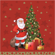 20 Serviettes en ouate 40x40cm 3plis Santa Claus