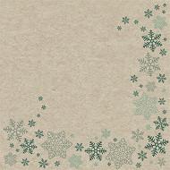Paquet 25 serviettes 33x33 cm, recycling tissue, 2 plis, snowflakes