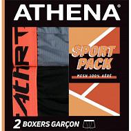 Lot 2 boxers Air Performance Athena 2010 NOIR C.BLEUE/BLEU 14 ANS