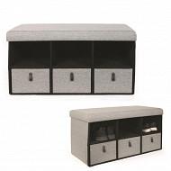 Coffre banc pliable avec rangements gris