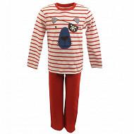 Pyjama long manches longues RAYE ROUGE 3ANS