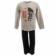 Pyjama long manches longues GRIS CHINE/MARINE 8ANS