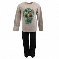 Pyjama long manches longues GRIS CHINE/MARINE 10ANS