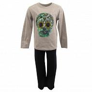 Pyjama long manches longues GRIS CHINE/MARINE 6ANS