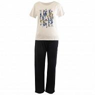 Pyjama long manches courtes BLANC/MARINE T50\52