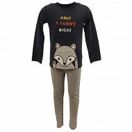 Pyjama long manches longues garçon MARINE/GRIS CHINE 8 ANS