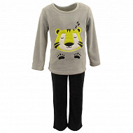 Pyjama long manches longues fourrure garçon GRIS CHINE/NOIR LION 4ANS