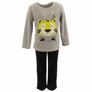 Pyjama long manches longues fourrure garçon GRIS CHINE/NOIR LION 3ANS