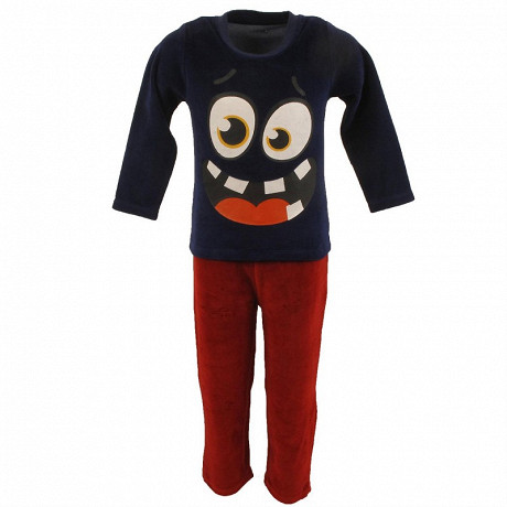Pyjama long manches longues velours garçon MARINE 10ANS