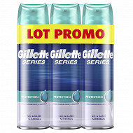 Gillette Series haute protection Gel A Raser Lot 3x200 ml