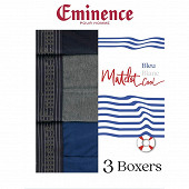 Lot de 3 boxers bleu blanc coll ligne Matelot Eminence 2020 BLEU/GRIS CH/MARINE T4