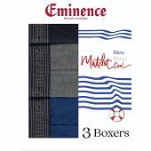 Lot de 3 boxers bleu blanc coll ligne Matelot Eminence 2020 BLEU/GRIS CH/MARINE T6