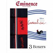 Lot de 3 boxers eminence 2110 BLEU/MARINE/BLEU T6