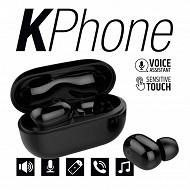 Kphone Ecouteurs bluetooth avec sa boite de chargement Lolite noir KP-E066-LOLITE-BLK