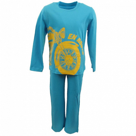 Pyjama long manches longues garcon TURQUOISE 10 ANS