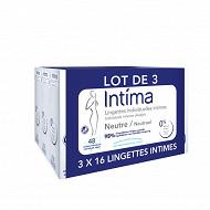 Intima neutral lot 3 lingettes x16