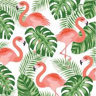 Serviettes x20 flamingo green 33x33cm 3 plis