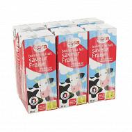 Cora boisson au lait saveur fraise source de calcium et de vitamine D 6x20cl
