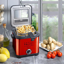 Kitchencook Friteuse inox compacte 900w 1.5l  rouge- FR1010_INOX RED