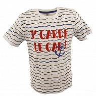 Tee shirt manches courtes garçon blanc wave WHITE/WAVE 14ANS