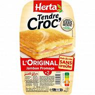 Herta Tendre croc' sans croute fromage jambon conservation sans nitrite 200g