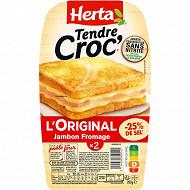 Herta Croque Monsieur sel réduit jambon fromage sans nitrite x2 200g