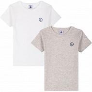 Lot de 2 tee shirts manches courtes Petit bateau 00 ECUME+BELUGA CHINE 8 ANS