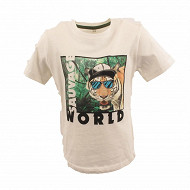 Tee shirt manches courtes garcon ECRU 12 ANS