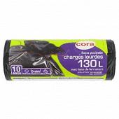 Cora sacs poubelle x10 liens classiques 130 litres