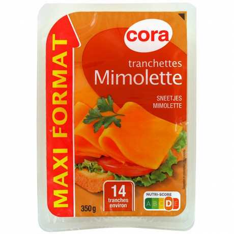 Cora tranchettes mimolette maxi format 14 tranches environ 350g