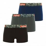 Lot 3 boxers Color Athena 2100 NOIR/ETAIM/ENCRE 10 ANS
