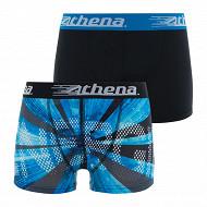 Lot 2 boxers Micro Perf Athena MP ENERGIE BLEU NOIR/UNI NOIR 14 ANS