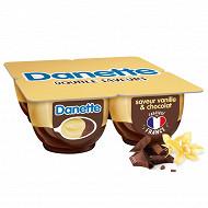 Danette saveur vanille sur lit au chocolat 4x125g