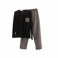 Pyjama bas chaine et trame NOIR / CARREAUX GRIS XXL