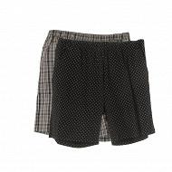 Lot de 2 shorts pyjama AO NOIR / CARREAUX GRIS XXL
