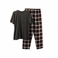 Pyjama homme  long manches courtes ANTHRA MELANGE/ROUGE MARINE XXL