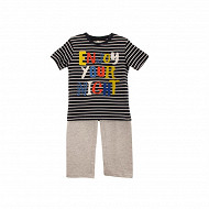 Pyjama long manches courtes jersey garçon ROUGE/ MARINE 5 ANS