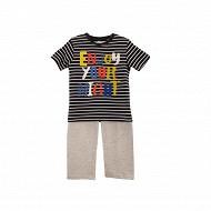 Pyjama long manches courtes jersey garçon ROUGE/ MARINE 10 ANS