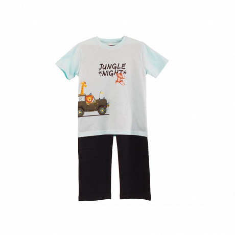 Pyjama long manches courtes jersey garçon TURQUOISE/ BLEU 12 ANS