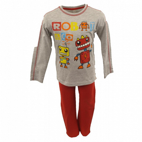PYJAMA LONG MANCHES LONGUES JERSEY GARCON GRIS CHINE/ROUGE 10ANS