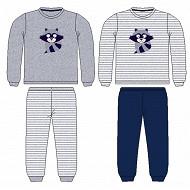 Pyjama long manches longues velours garçon UNI GRIS 10 ANS